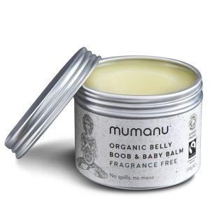 mumanu-organic-fairtrade-belly-boob-baby-balm organic fairtrade skincare mother and baby balm