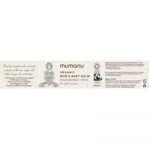 Mumanu Organic Mum & Baby Balm With Fairtrade Ingredients - Label